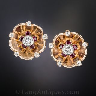 Retro Rose Gold, Diamond and Ruby Earrings - 3