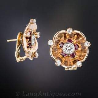 Retro Rose Gold, Diamond and Ruby Earrings