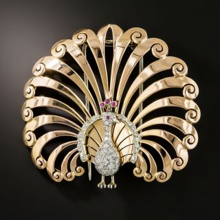 Retro Rose Gold Diamond Peacock Brooch - 2