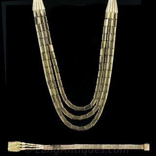 Retro Rose Gold Necklace and Bracelet Suite Main View