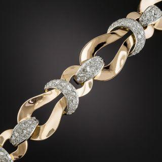 Retro Rose Gold Platinum Diamond Bracelet  - 1