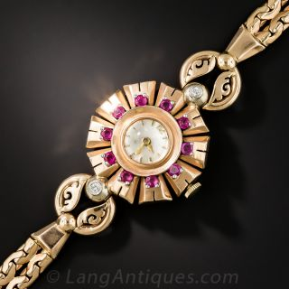 Retro Rose Gold, Ruby and Diamond Watch by Movado - 2