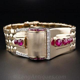 Retro Ruby and Diamond Bracelet 'Driver's' Watch - 1