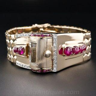 Retro Ruby and Diamond Bracelet 'Driver's' Watch