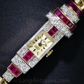 Retro Ruby and Diamond Bracelet Watch