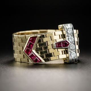 Retro Ruby and Diamond Buckle Ring