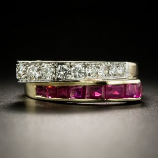 Retro Ruby and Diamond Bypass Ring - 3