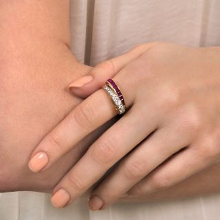 Retro Ruby and Diamond Bypass Ring