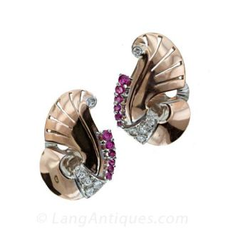 Retro Ruby Diamond Clip Earrings