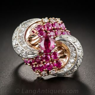 Retro Ruby and Diamond Cocktail Ring - 2