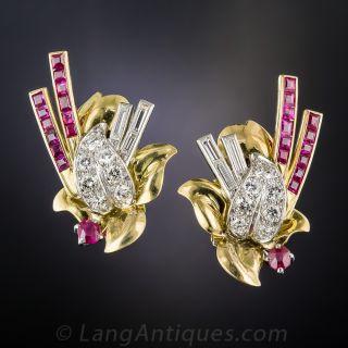 Retro Ruby and Diamond Earrings - 1