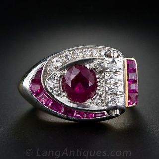 Retro Ruby and Diamond Ring - 1