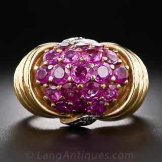 Retro Ruby and Diamond Ring in Yellow Gold - 1
