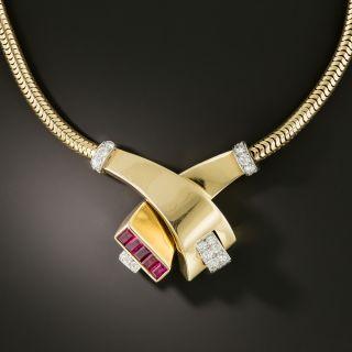 Retro Ruby and Diamond Serpentine Necklace - 2