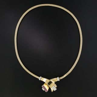 Retro Ruby and Diamond Serpentine Necklace