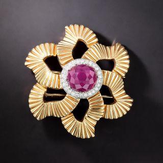 Retro Ruby & Diamond Fluted Petal Pin - 1