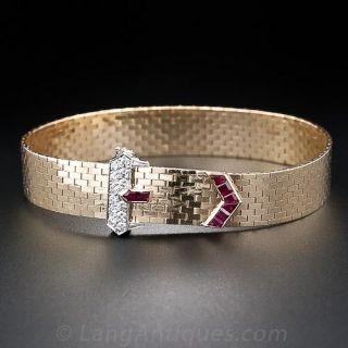 Retro Ruby Diamond Gold Necklace & Bracelet Suite