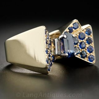 Retro Sapphire and Diamond Bow Ring