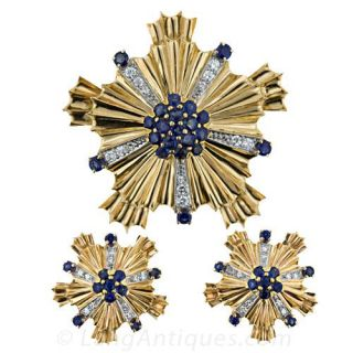 Retro Sapphire and Diamond Brooch and Earrings