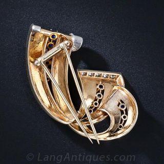 Retro Sapphire and Diamond Brooch