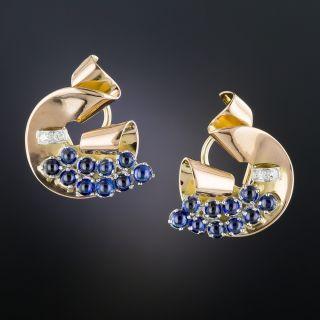 Retro Sapphire and Diamond Earrings - 1