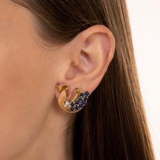 Retro Sapphire and Diamond Clip Earrings