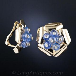 Retro Sapphire and Diamond Earrings