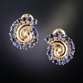 Retro Sapphire Swirl Earrings - 1