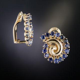 Retro Sapphire Swirl Clip Earrings