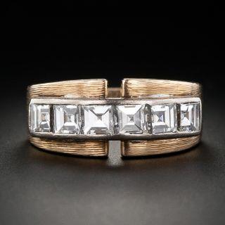 Retro Square Diamond Band Ring - 1