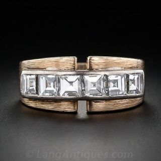 Retro Square Diamond Band Ring