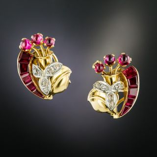 Retro Synthetic Ruby and Diamond Earrings - 2