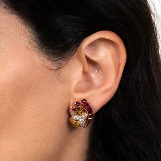 Retro Synthetic Ruby and Diamond Earrings