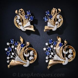 Retro Synthetic Sapphire and Diamond  Earrings and Double Clips Suite