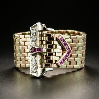 Retro Tri-Color Gold Ruby Diamond Buckle Ring  - 1