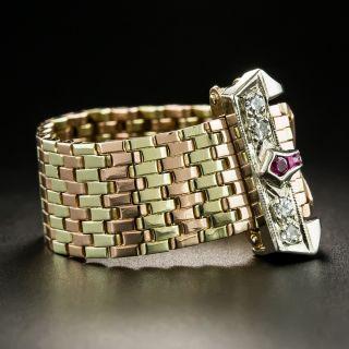 Retro Tri-Color Gold Ruby Diamond Buckle Ring