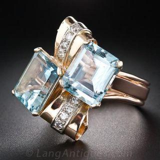 Retro Twin Aquamarine and Diamond Ring