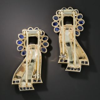 Retro Two-Tone Gold and Sapphire Dress Clips