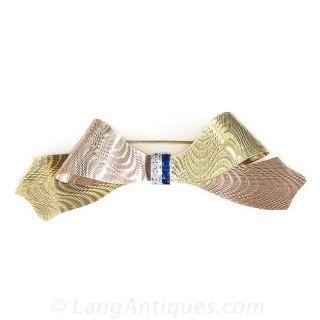 Retro Two-Tone Gold Diamond and Sapphire Bow Pin