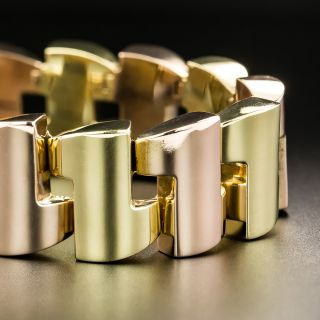 Retro Two-Tone Gold Link Bracelet - 2
