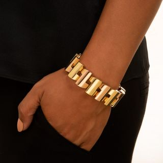 Retro Two-Tone Gold Link Bracelet