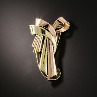 Retro Two-Tone Ribbon Brooch - 2