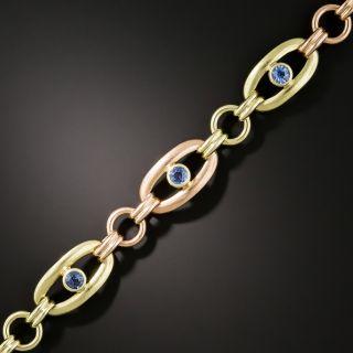 Retro Two Tone Sapphire Link Bracelet - 3
