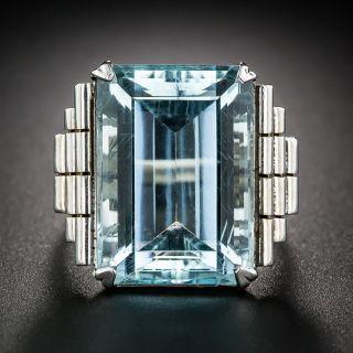 Retro White Gold Aquamarine Ring