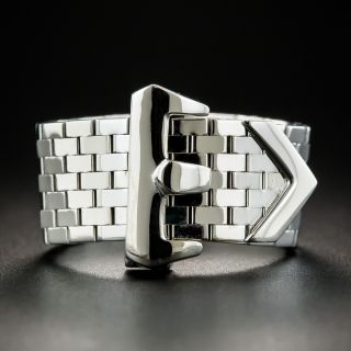 Retro White Gold Buckle Ring - 2
