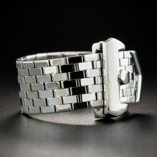 Retro White Gold Buckle Ring