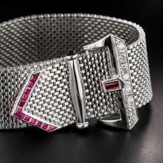 Retro White Gold Diamond Ruby Mesh Buckle Bracelet - 2