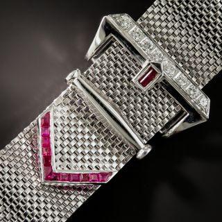 Retro White Gold Diamond Ruby Mesh Buckle Bracelet