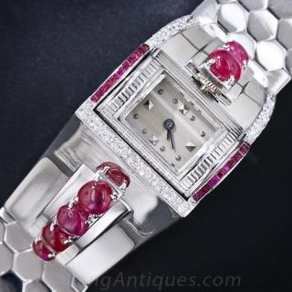 Retro White Gold, Ruby and Diamond Bracelet Watch