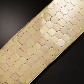 Retro Wide 18K Two-Tone Gold Honeycomb Bracelet